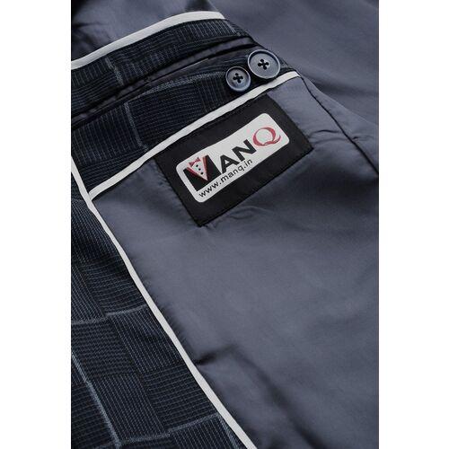MANQ Men Navy Slim Fit Self-Checked Single-Breasted Formal Blazer