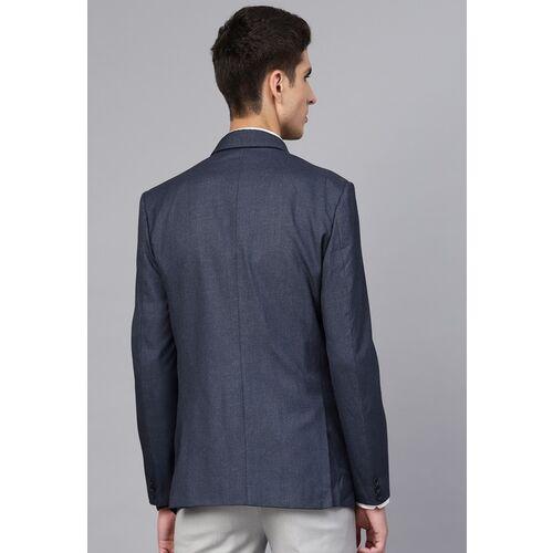 MANQ Men Navy Blue Slim Fit Solid Single-Breasted Formal Blazer