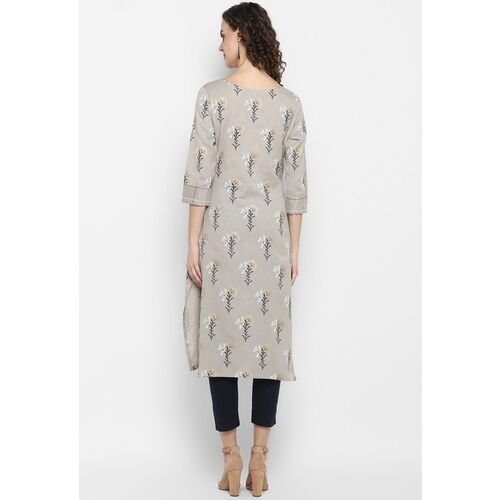 Janasya Women Grey & Black Printed Straight Kurta