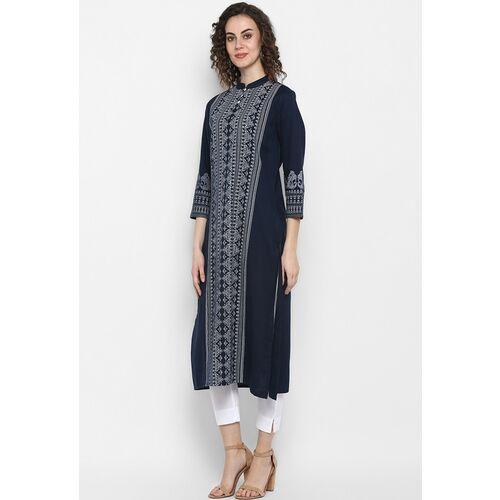 Janasya Women Blue & White Printed Straight Kurta