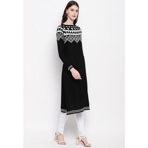 Janasya Women Black & White Solid Straight Woollen Winter Kurta