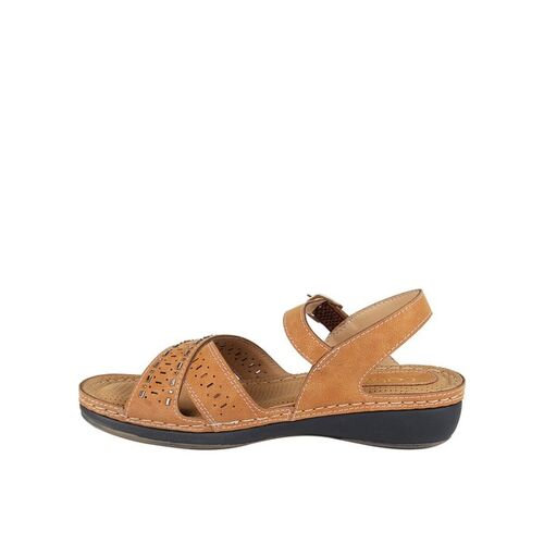Catwalk Textured Flat Sandals with Buckle Closure