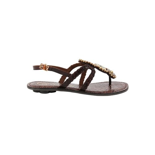 Catwalk brown synthetic open thong sandals