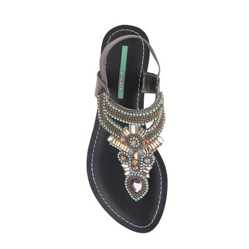 Catwalk silver synthetic open thong sandals