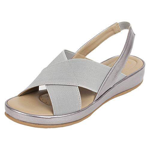 Catwalk Women's Silver Flat Slip Fashion Espadrille