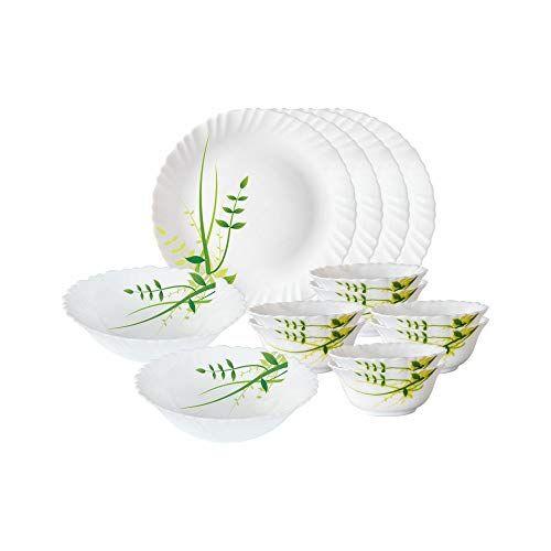 Larah By Borosil Green Herbs Opalware Dinner Set, 14-Pieces, White
