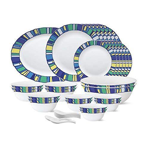 Larah by Borosil - Tiara Series, Sapphire, 33 Pcs, Opalware Dinner Set, White