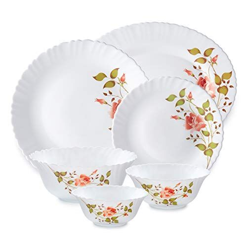Amazon Brand - SolimoOpalware Dinner Set, 27 Pieces (Rose)