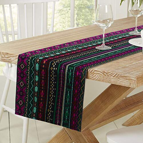 HOKIPO Cotton Acrylic Washable 6 Seater Dining Table Runner, 13x72 Inches, Multicolor (IN-288-D1)