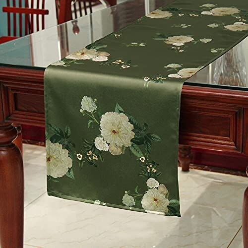 Oussum Satin Table Runner Boho Floral Print Silk Dinning Tablecloth for Everyday Table Decor 72x12 Inches (183x31 cm)