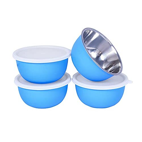Zaib Microwave Safe Stainless Steel Plastic Coated Euro Bowl Set of 3 for Re-Heating, Serving Snacks, Curries etc. 500 ML Each