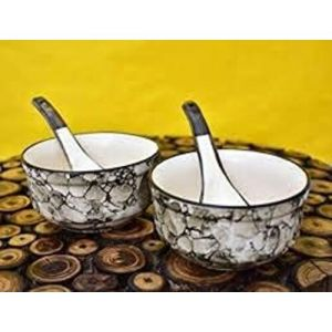Unique SS Ceramic Soup Bowls   Set of 2   Black Luster Color  with Spoon   Microwave Safe   Made in India
