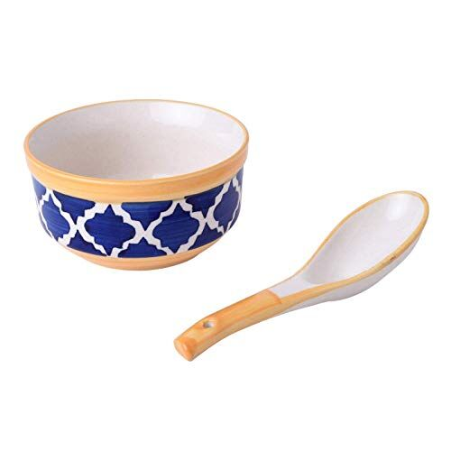 Ceramic Printed Bowl with Spoon - 250ml, Set of 6, Blue and Yellow