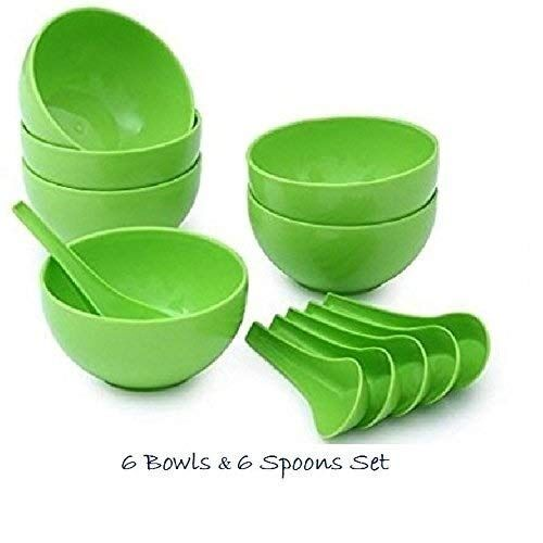 Plastic Round Shape Soup Bowls Set 6 Bowl and 6 Spoon, Microwave Safe for Home and Office Use (Green) by A one