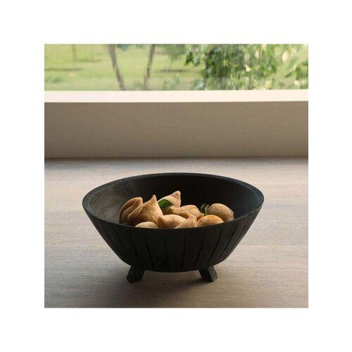 ellementry Tribal Black Mango Wood Dessert Bowl with Stand - Set of 1