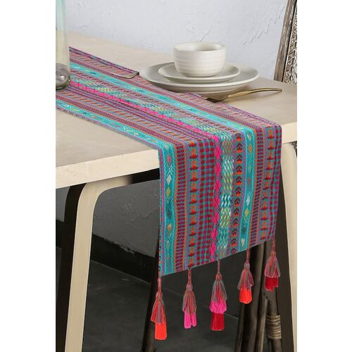 Mezposh Turquoise Blue & Pink Embroidered 6 Seater Table Runner