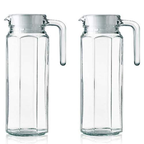 Sangria FIMBRIA 1100 ml (Set of 2) pcs-2, Glass jug Pitcher with lid iced Tea Pitcher Water jug hot Cold Water ice Tea, Milk and Juice Beverage Carafes 1.1 LTR