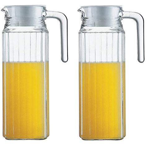 1100 ml (Set of 2) pcs-2, Glass jug Pitcher with lid iced Tea Pitcher Water jug hot Cold Water ice Tea, Milk and Juice Beverage Carafes 1.1 LTR