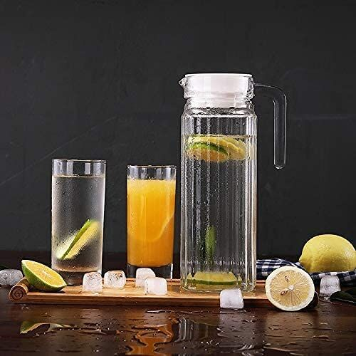 Homeprism 1100 ML Glass jug Pitcher with with lid iced Tea Pitcher Water jug hot Cold Water ice Tea, Wine. Milk and Juice Beverage Carafes   1.1 LTR    Set of 2