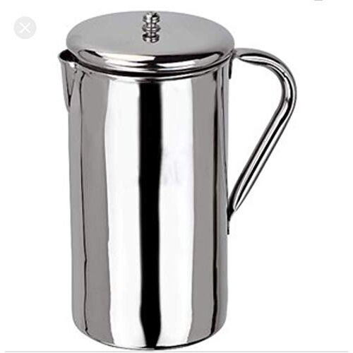 MAHA CREATION Steel Jug with Lid for Water Storage and Drinking (Silver, 1600ml)