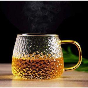 MODCON LUXURY Tea and Coffee Cup Glass Mug, Used for Tea, Coffee, Green Tea, Lemon Cup with Handle Golden ( 410ml, Set of 4 )
