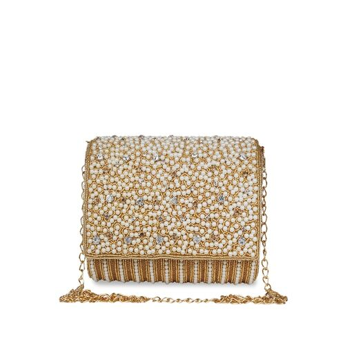 Anekaant White & Gold-Toned Embellished Embellished Clutch