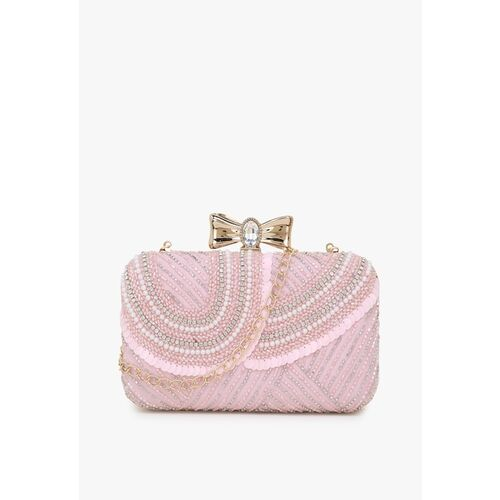 Anekaant Pink & Gold-Toned Embellished Embellished Clutch