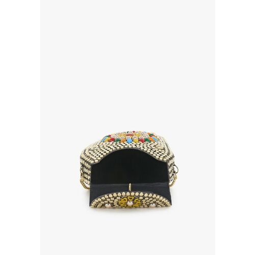 Anekaant Gold-Toned & Red Embellished Clutch