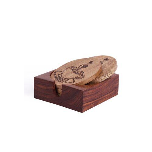 Mango VarEesha Brown Set of 4 Handmade Wooden Coffee Coasters