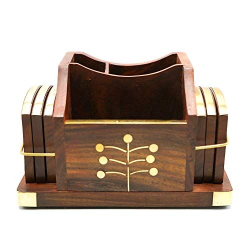 Naayaab Craft Pakka Sheesham Wood Coasters for Tea Cups/Coffee Mugs/Beer Cans/Bar Tumblers and Water Glasses