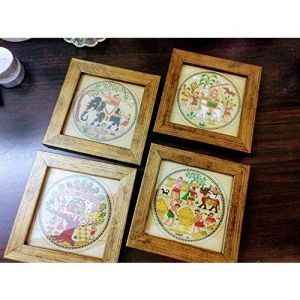 Mati Ke Laal Traditional Design Framed Coasters Set of 4 - Coasters for Coffee Table Dining Table Tea Coaster Set for Office Drink Coasters Bar Accessories