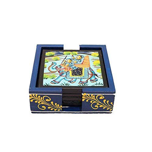 IndiCart Wooden Antique Handmade Creative Hand Painted Square Tea Coffee Coaster, Set of 6 Wenge, Artistic Design Holder