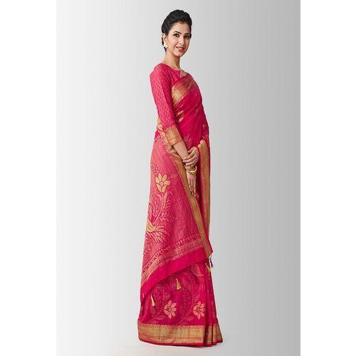MIMOSA Pink Art Silk Woven Design Kanjeevaram Saree