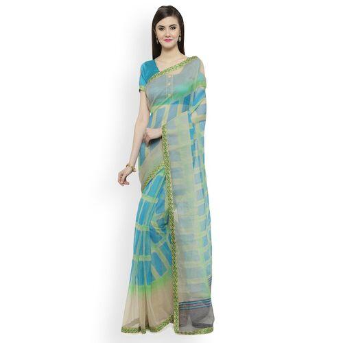 Shaily Cream-Coloured & Blue Cotton Blend Checked Saree