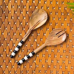 ExclusiveLane 'Zebra Pack' Handpainted Rice Serving Spoon Set for Dining Table Accessories in Mango Wood (Set of 2) - Salad Spoon Server Pasta Salad Server