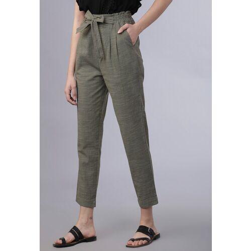 Tokyo Talkies Women Olive Green Regular Fit Self Design Ankle Length High-Waist Trousers