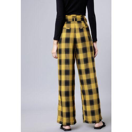 Tokyo Talkies Women Mustard & Black Regular Fit Checked Parallel Trousers