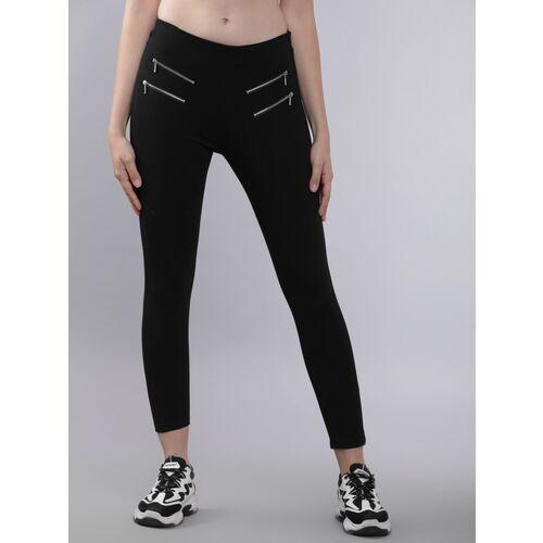 Tokyo Talkies Slim Fit Women Black Trousers