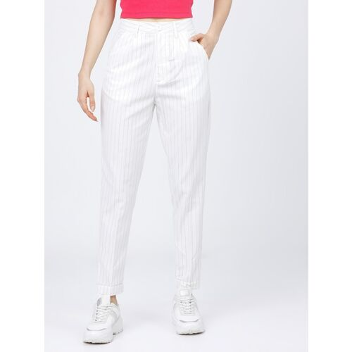 Tokyo Talkies Regular Fit Women White Trousers
