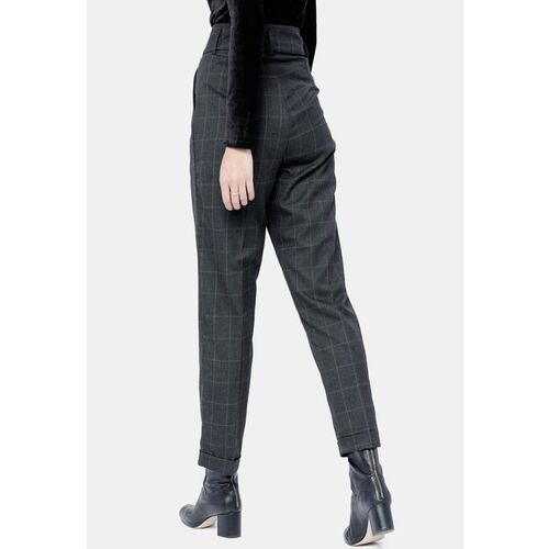 Tokyo Talkies Women Charcoal Straight Fit Checked Regular Trousers
