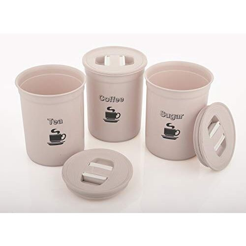 ASIAN 10000411 Plastic Container - 850ml, 3 Pieces, Beige