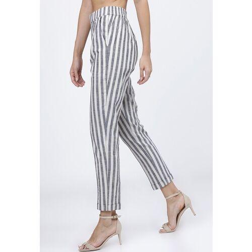 Tokyo Talkies Women White &Black Striped Cigarette Trousers