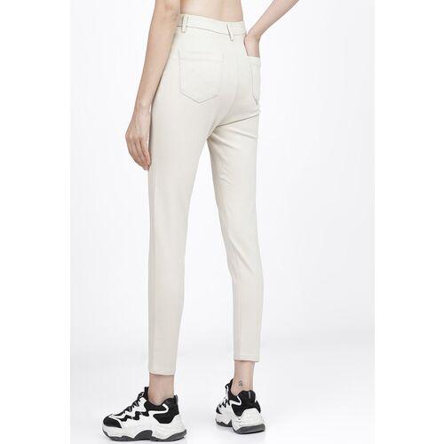 Tokyo Talkies Women Off White Slim Fit Regular Trousers