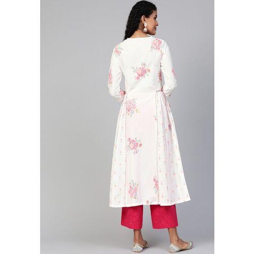 Biba Women White & Pink Panelled Floral Printed Anarkali Kurta