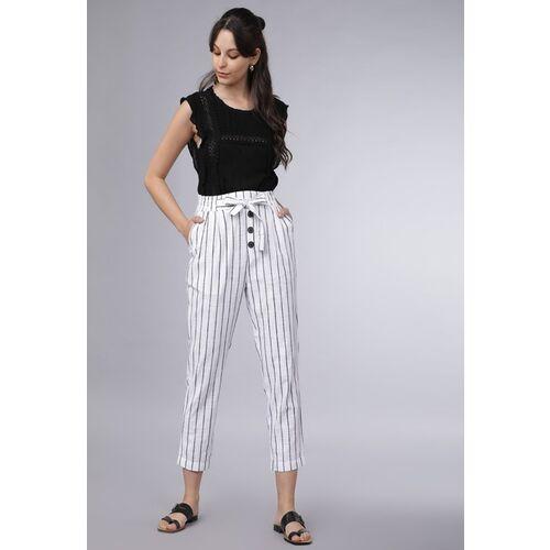Tokyo Talkies Women White & Black Striped Regular Trousers
