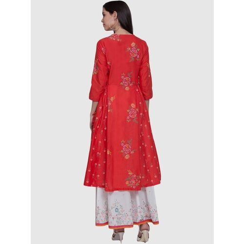 Biba Red Cotton Printed Anarkali Kurta