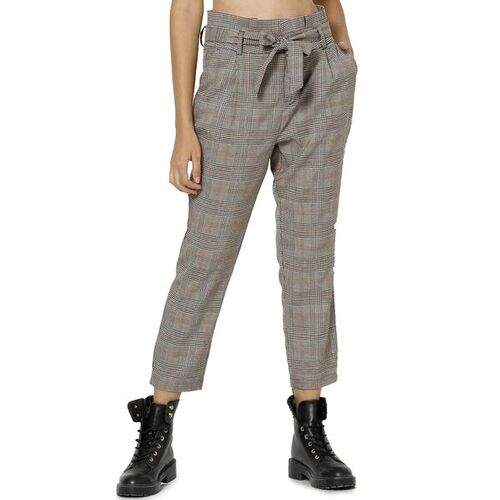 Only Checked Paperbag-Waist Cropped Trousers