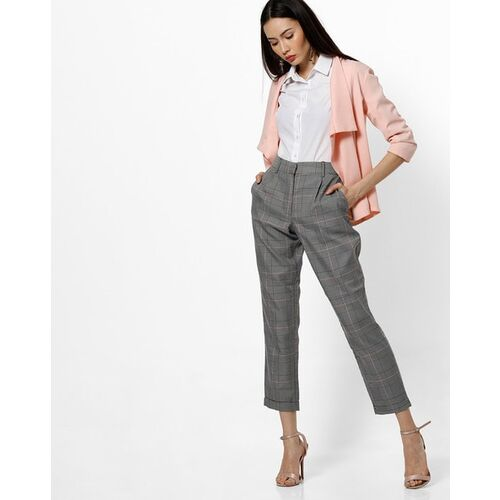 Only Mid-Rise Straight Checked Trousers