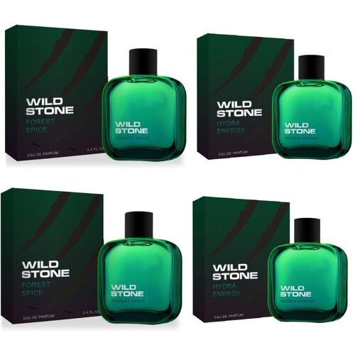 Wild Stone 2 Forest Spice and 2 Hydra Energy EDP Perfume 50ml Each (Pack of 4) Eau de Parfum - 200 ml(For Men)
