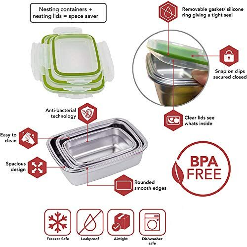 Hazel Stainless Steel Airtight Container Leakproof Rectangle Lunch Tiffin Food Storage Dabba